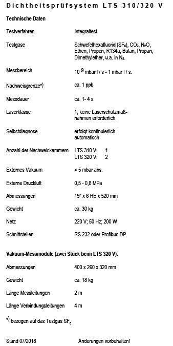 Hier sehen Sie das Datenblatt des Dichtheitsprüfsystems LTS 310/320 V von Gemtec