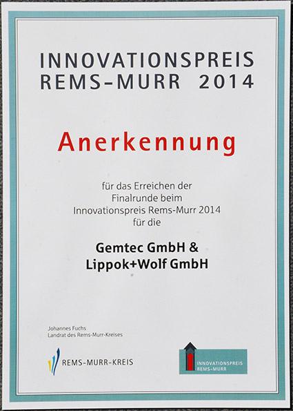 Urkunde Annerkennung Innovationspreis 2014 Rems-Murr-Kreis