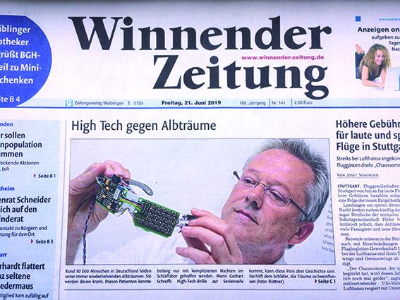 Zeitungsartikel ZVW, High Tech gegen Albträume